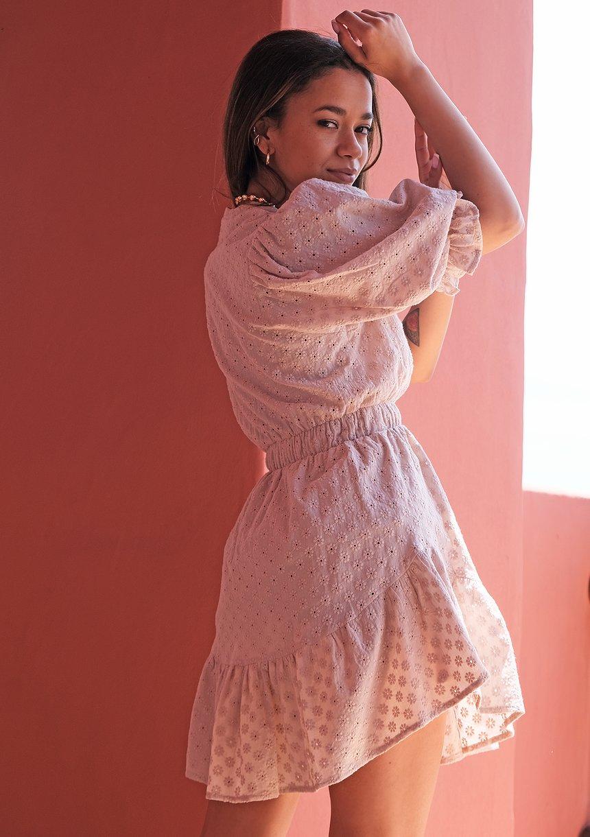 Sukienka boho z bufkami Beżowa