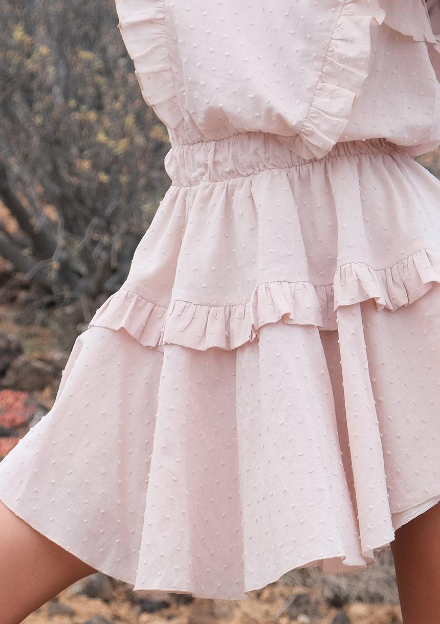 Sukienka boho z falbankami Beżowa
