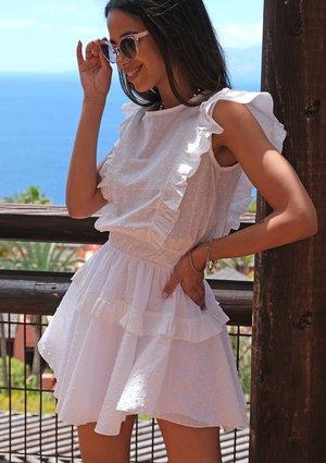 Mini boho white dress with frills