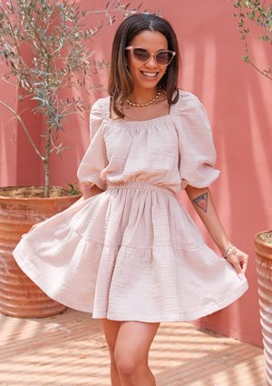 Mini boho beige dress