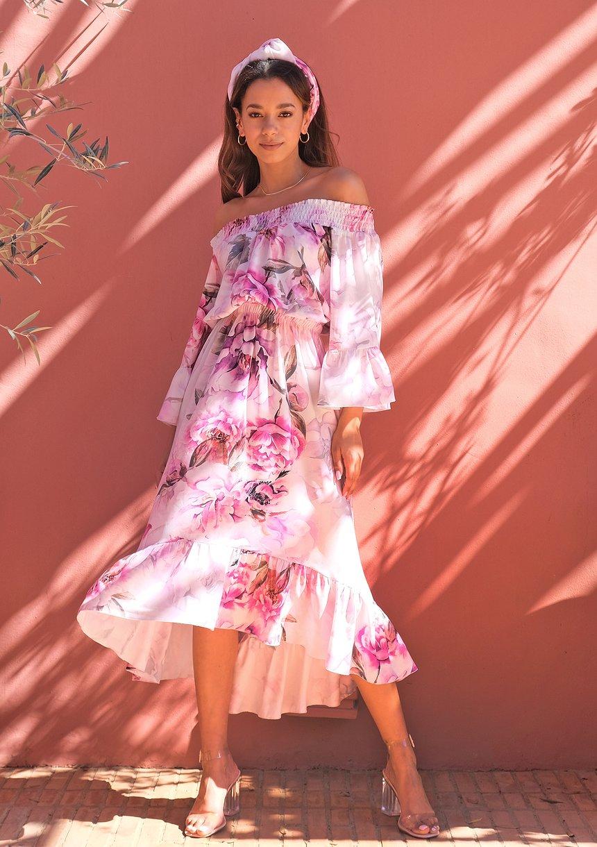 Midi white dress with floral print