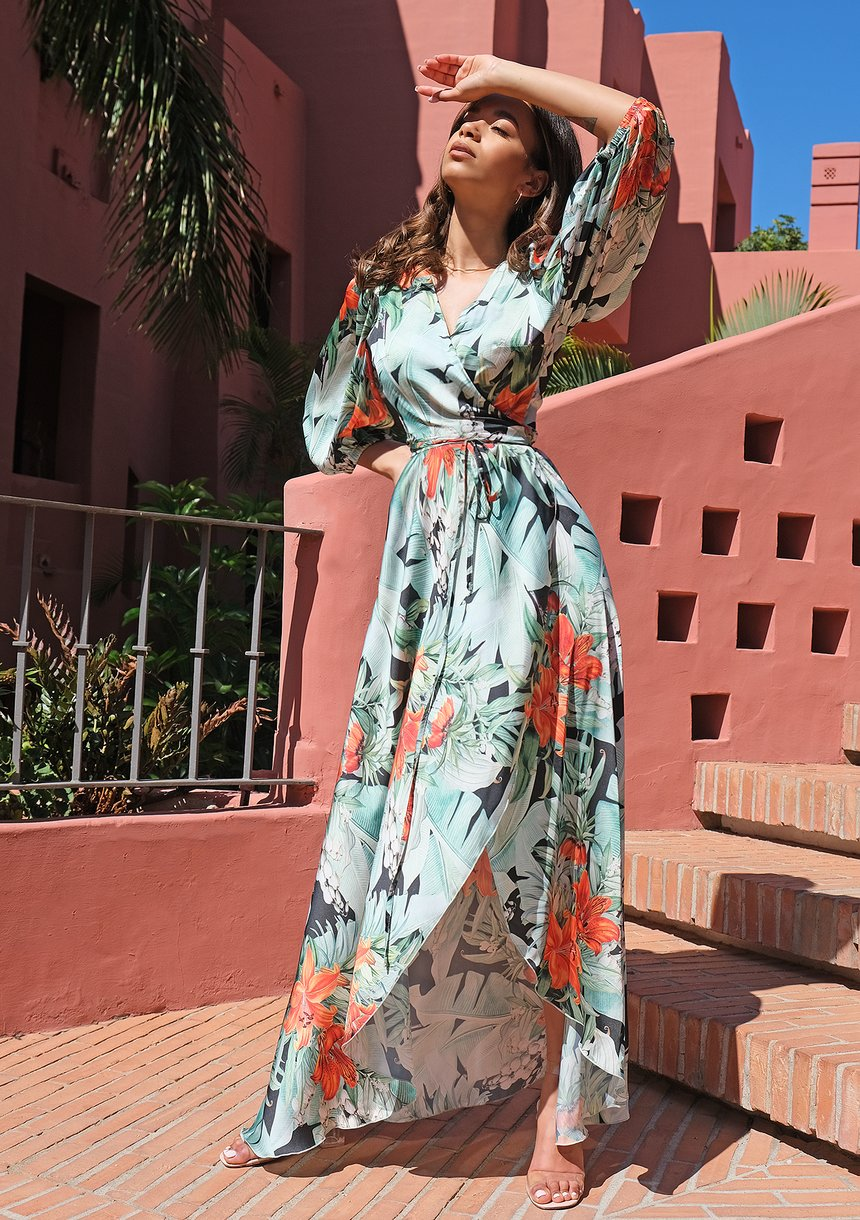 Kopertowa sukienka maxi z satyny Leaves