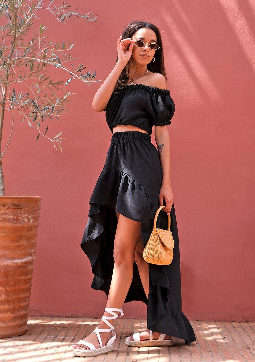 Asymetryczna spódnica maxi Czarna