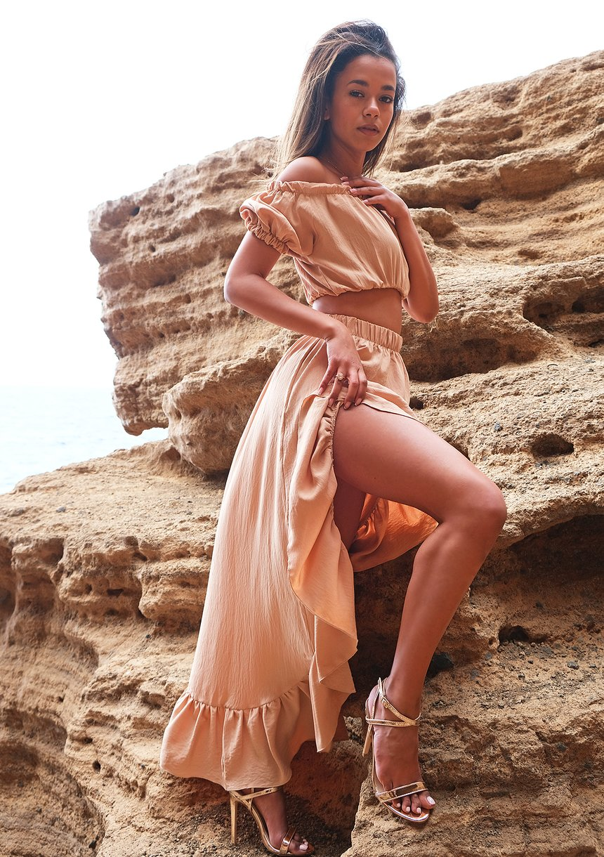 Asymetryczna spódnica maxi Beżowa