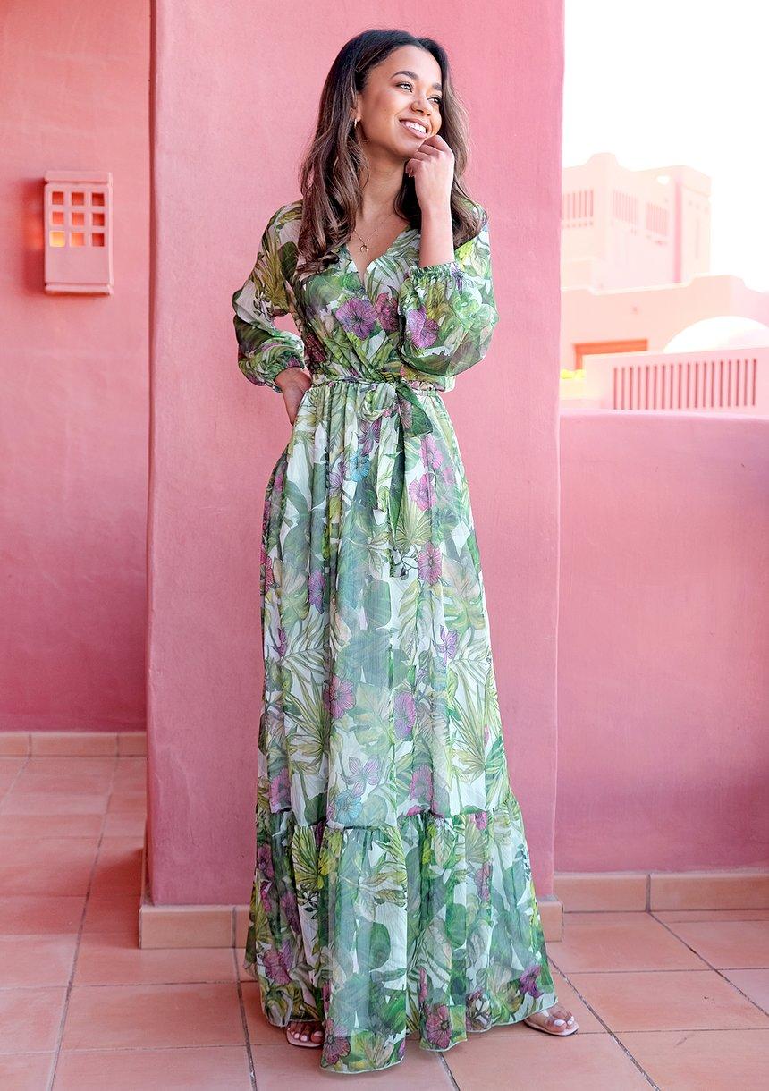Maxi chiffon dress Misty Flora