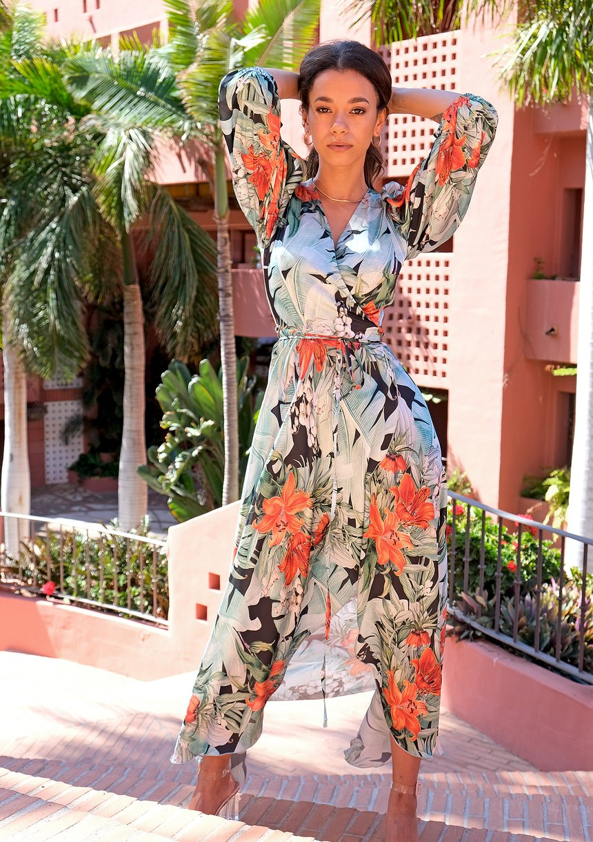Maxi wrap satin dress with monstera leaves