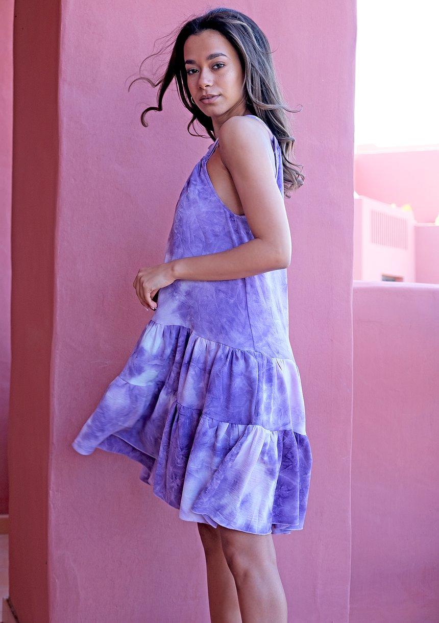 Sukienka mini tie dye Violet