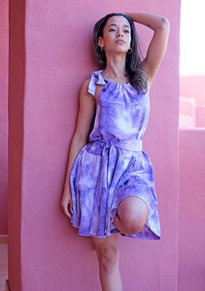 Mini tie dyed violet dress