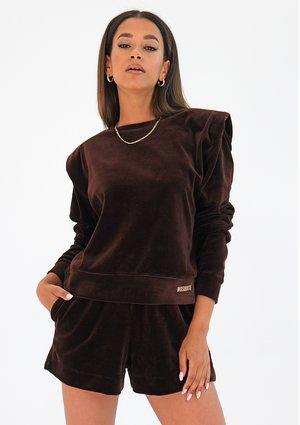 Velvet sweatshirt with shoulder pads Brown