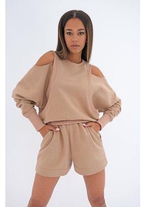 Sweatshirt with open shoulders Coffee Beige