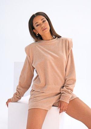 Velvet sweatshirt with shoulder pads Beige