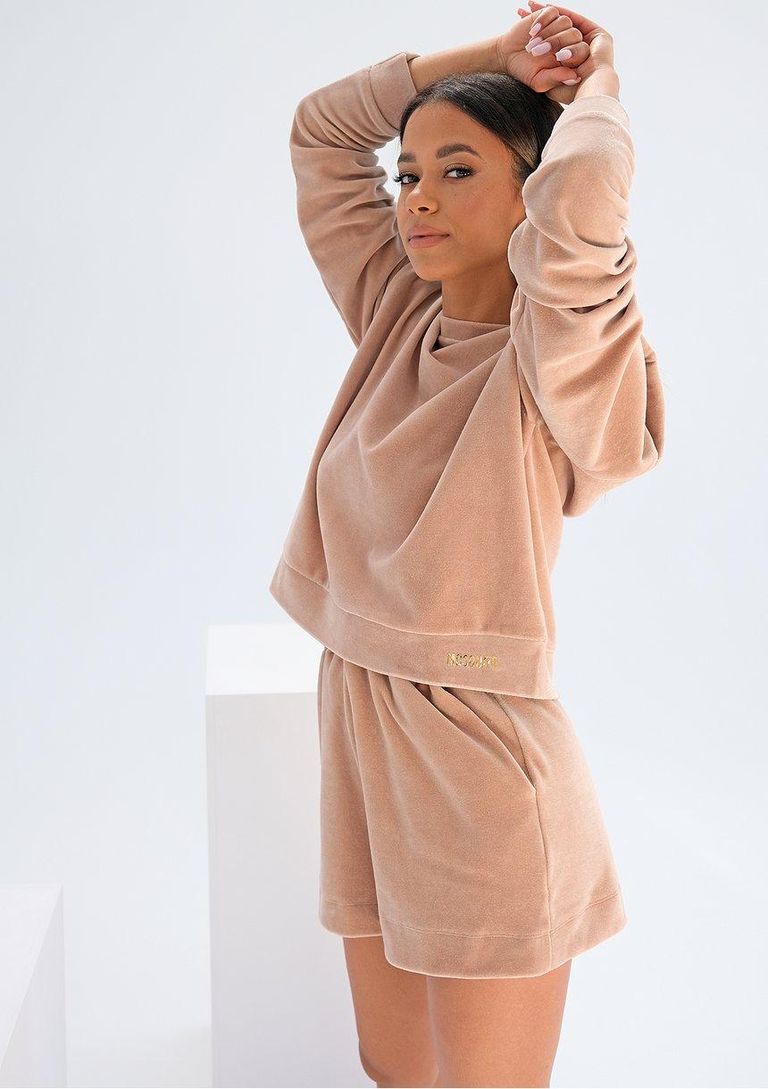 Welurowe szorty dresowe Beżowe ILM