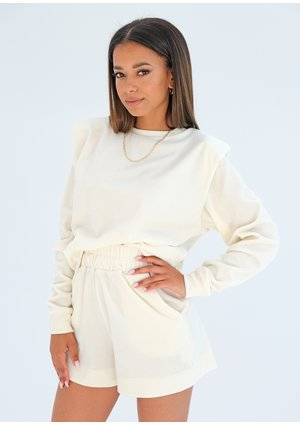 Velvet sweatshirt with shoulder pads Ecru