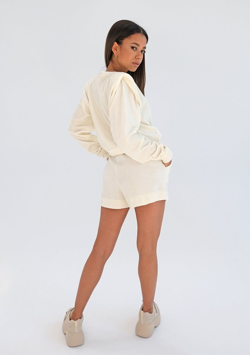 Welurowa bluza z poduszkami Ecru ILM