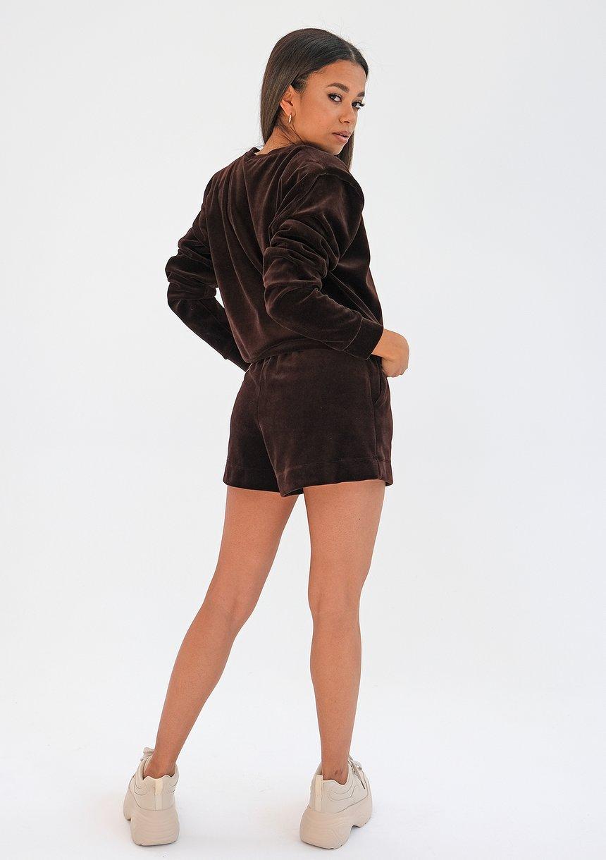 Welurowa bluza z poduszkami Brązowa ILM