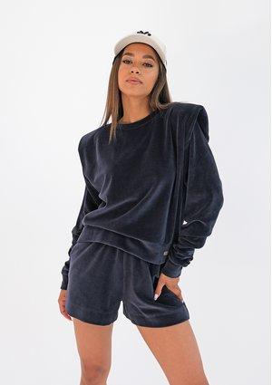 Velvet sweatshirt with shoulder pads Navy