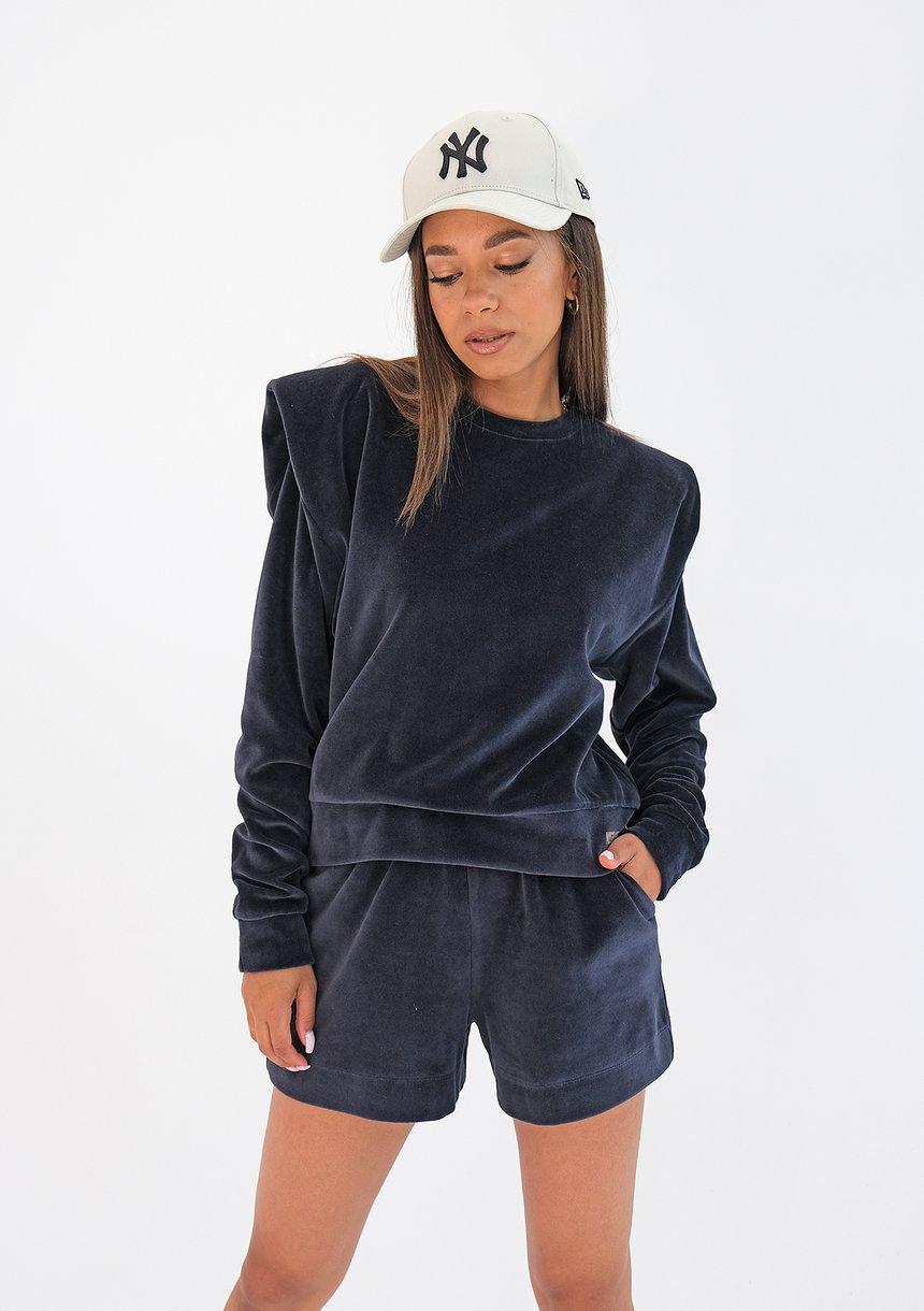 Welurowa bluza z poduszkami Granatowa ILM