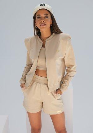 Sweatshirt with shoulder pads Beige