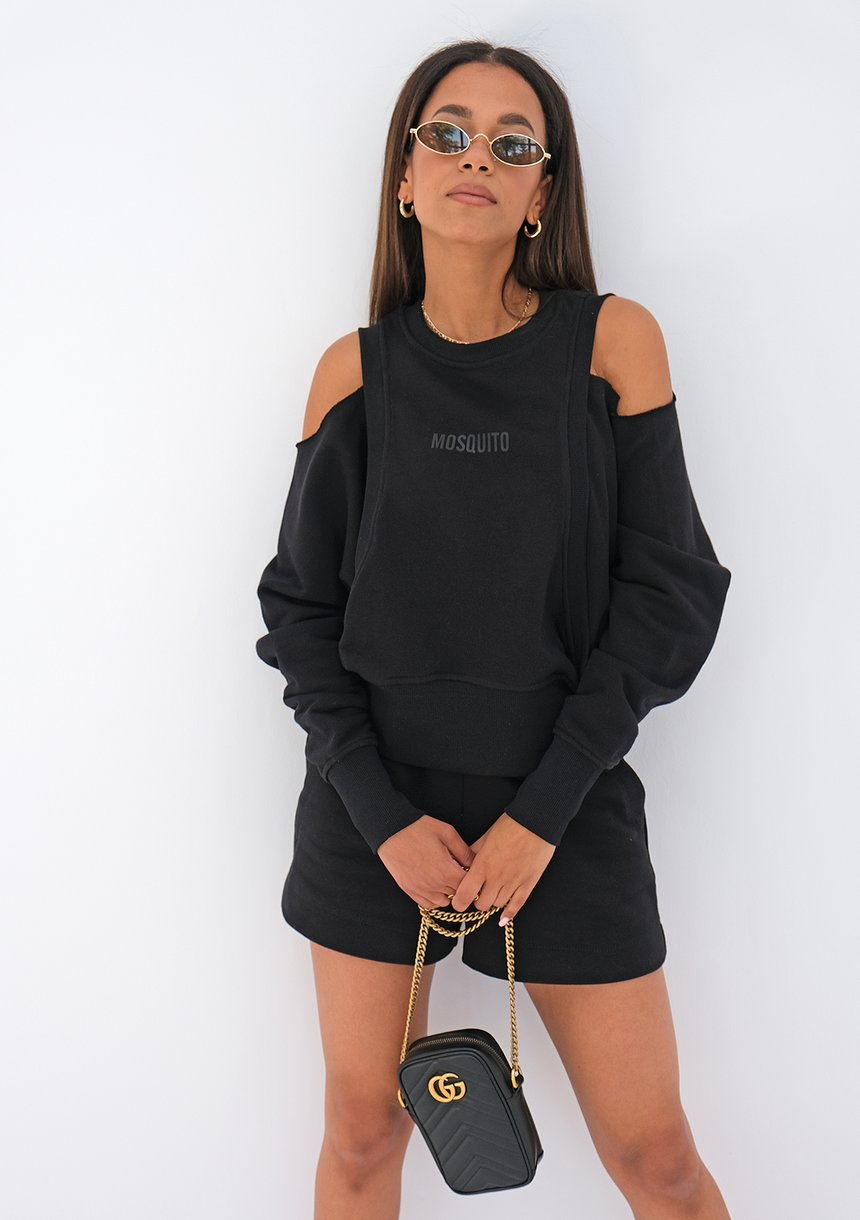 Sweatshirt with open shoulders Black