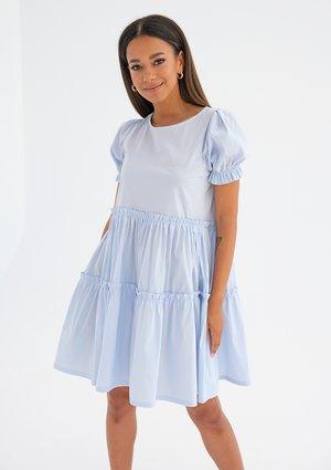 Tiered mini light blue dress