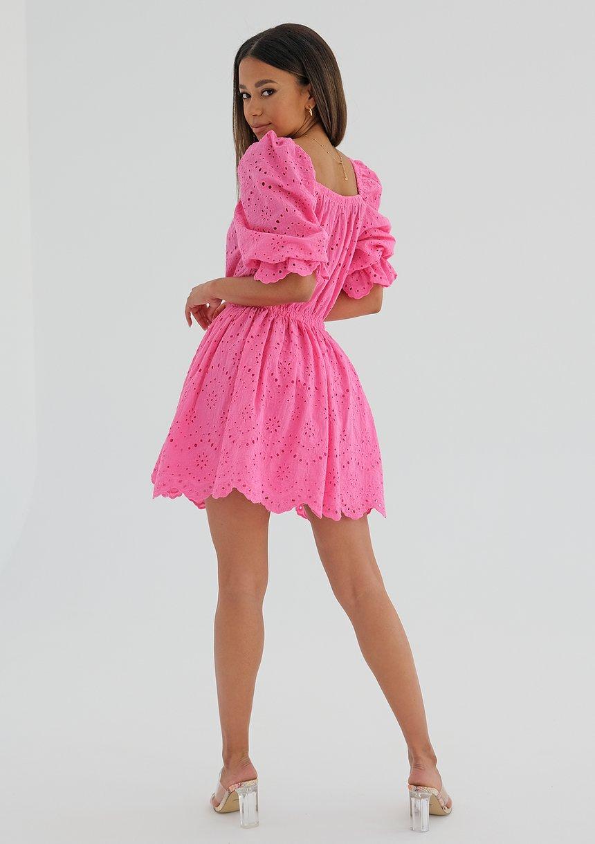 Sukienka ażurowa z popeliny Różowa