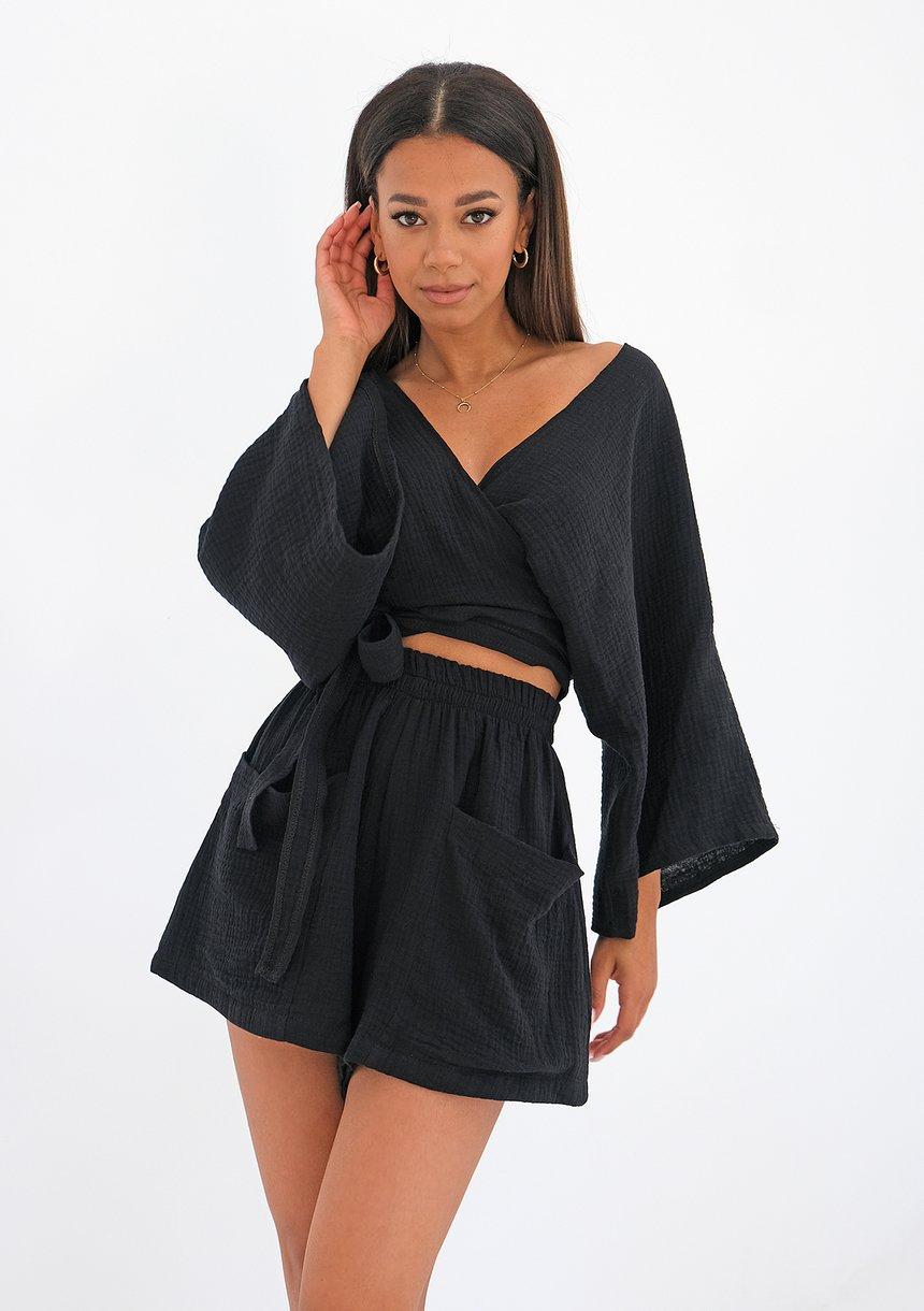 Muślinowy top kimono Czarny