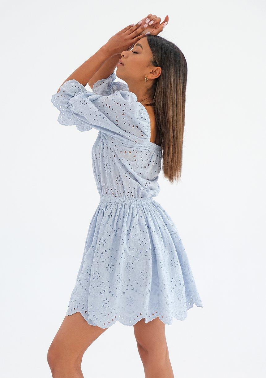 Sukienka ażurowa z popeliny Błękitna