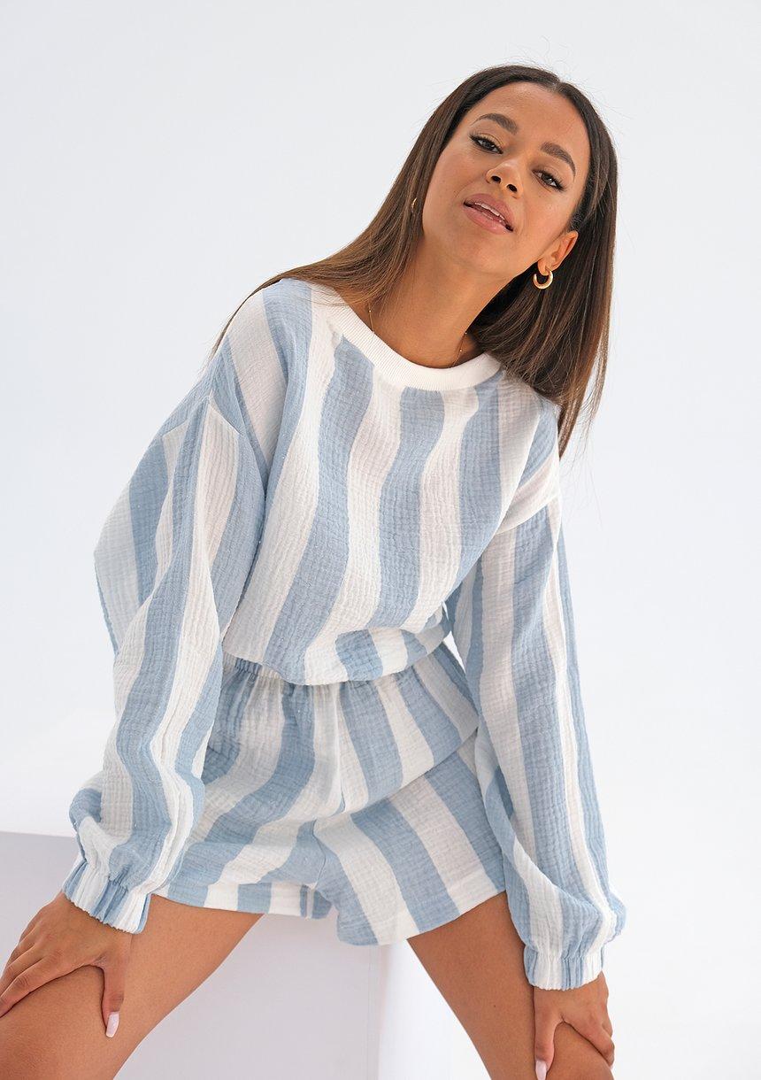 Bluza z muślinu w paski Błękitna