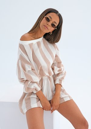 Muslin blouse with beige stripes