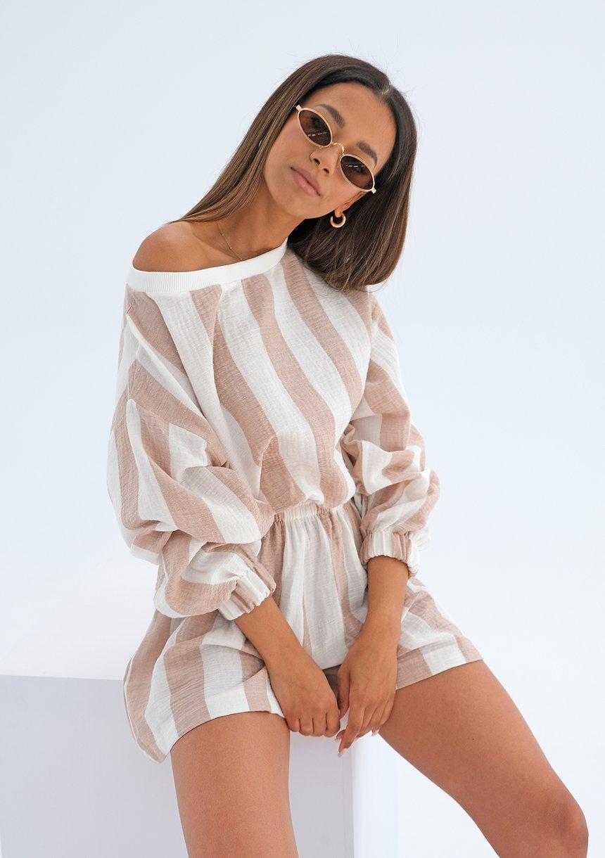 Bluza z muślinu w paski Beżowa