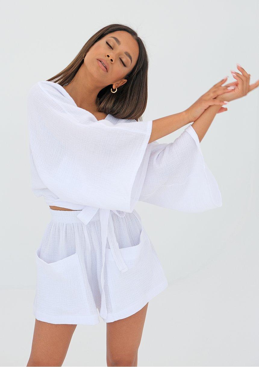 Muślinowy top kimono Biały