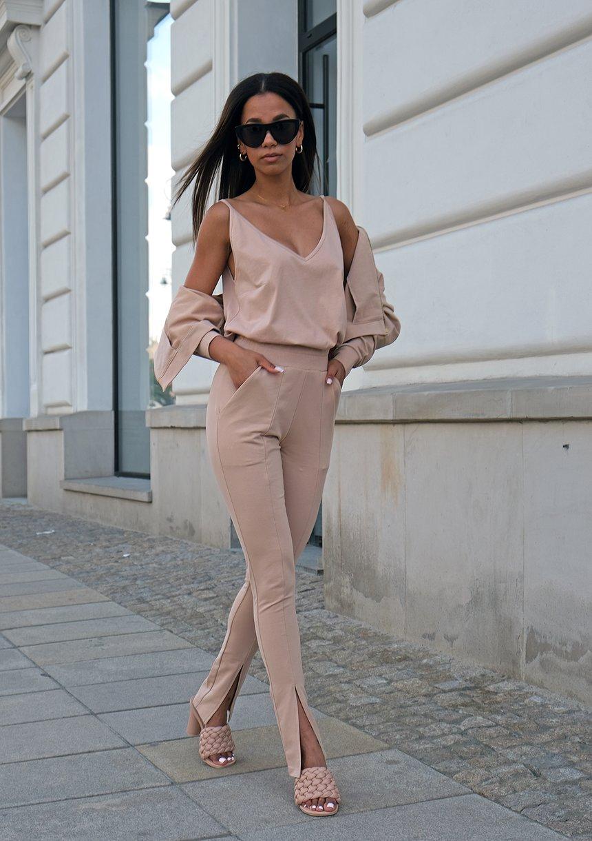 Spodnie damskie z rozcięciem Beżowe ILM