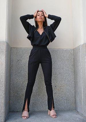 Black pants with a slit