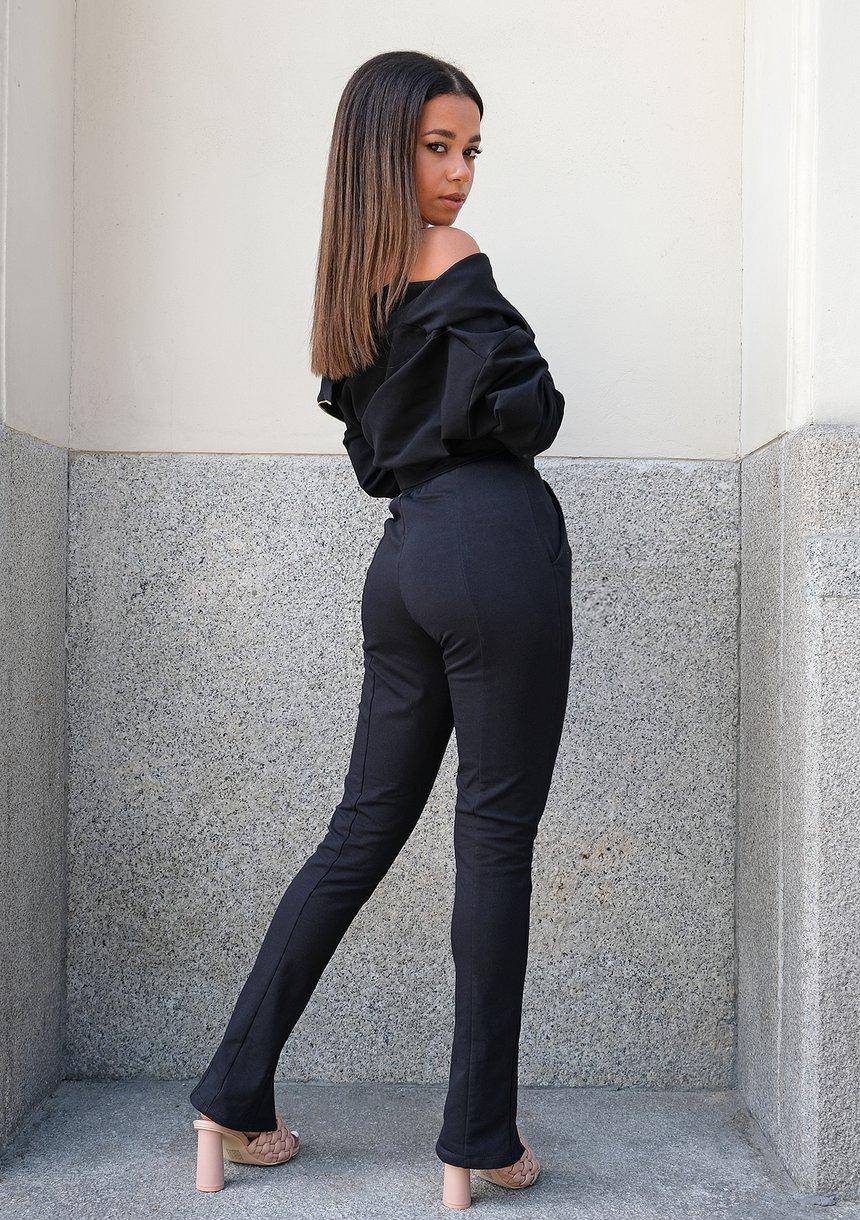 Spodnie damskie z rozcięciem Czarne ILM