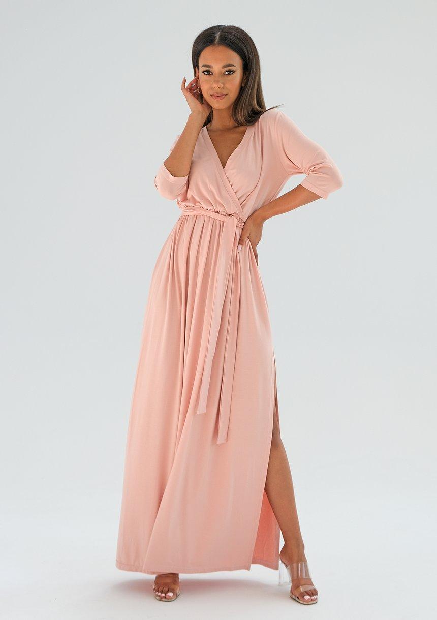 Sukienka maxi z wiązaniem Pudrowy Róż