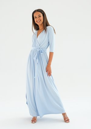 Sukienka maxi z wiązaniem Błękitna ILM