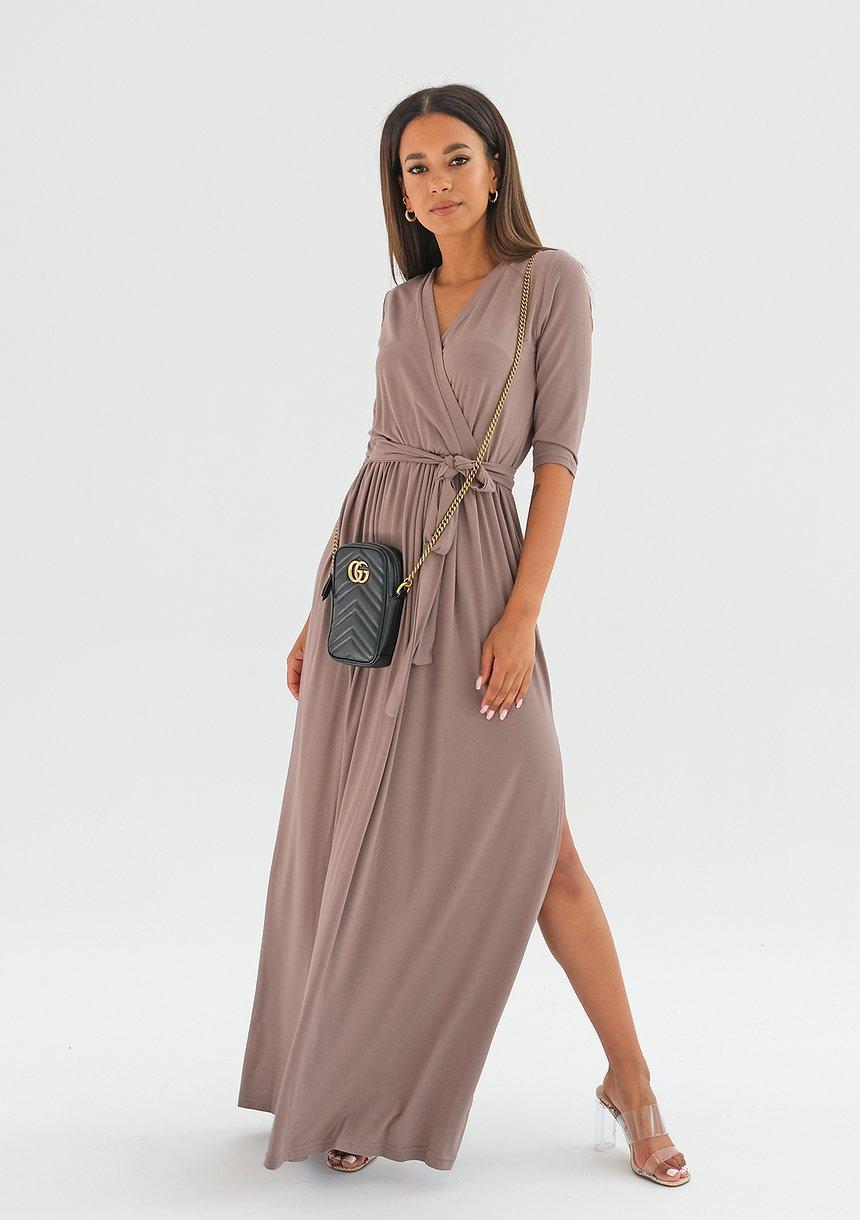 Sukienka maxi z wiązaniem Coffee ILM
