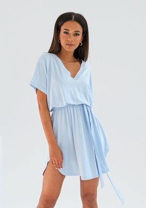 Mini light blue viscose dress