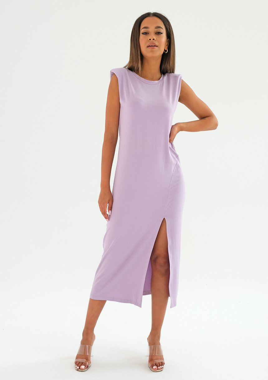 Midi lila dress with shoulder pads