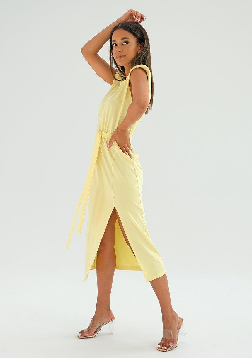 Sukienka midi z poduszkami Żółta ILM