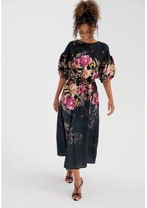 Midi black dress with a peony flower print
