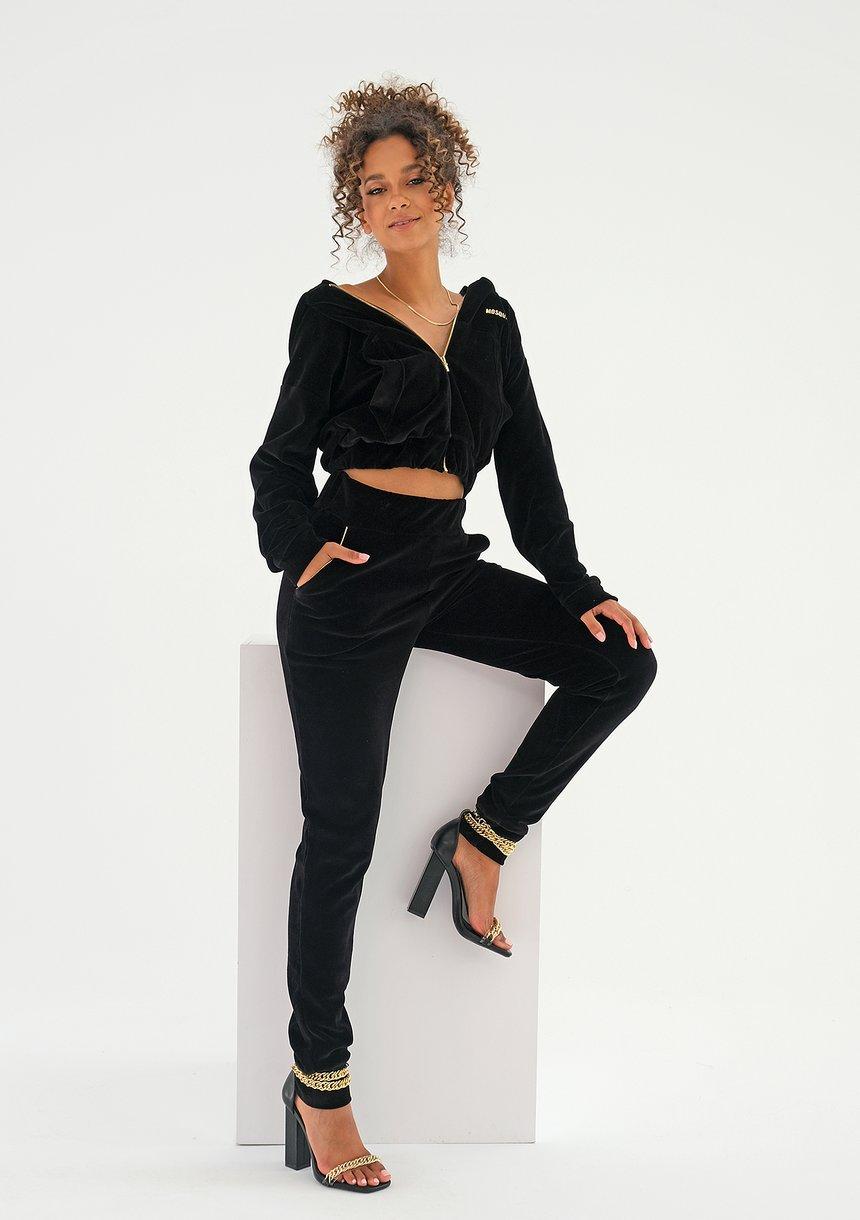Spodnie velvet z wysokim stanem Czarne