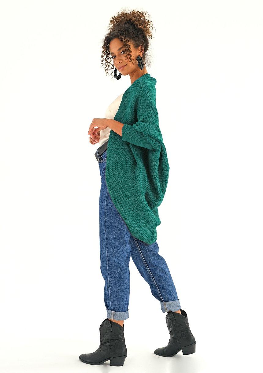 Sweter narzutka oversize Szmaragdowy ILM