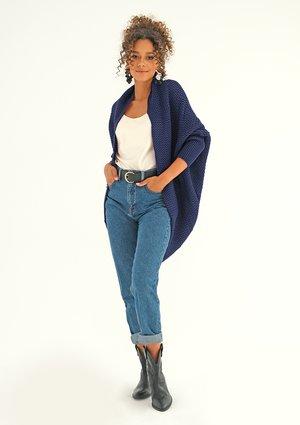 Sweter narzutka oversize Granatowy ILM