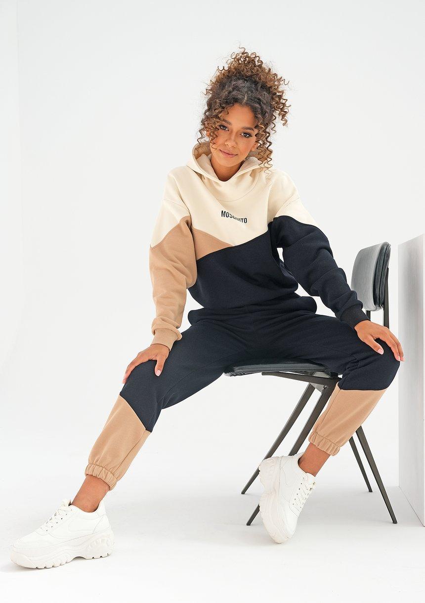 Spodnie z łączonych kolorów Latte