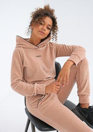 Beige velvet sweatshirt with black details