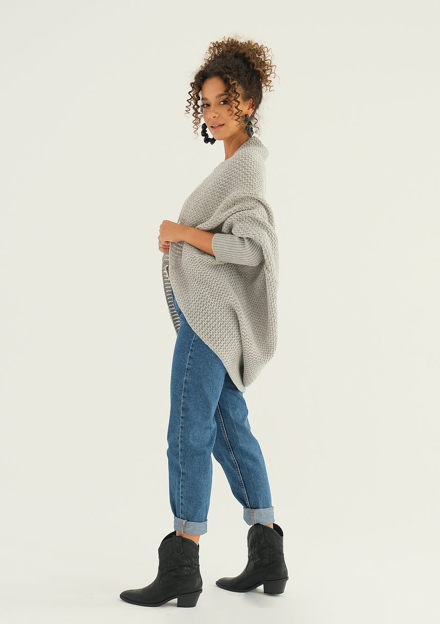 SWETER NARZUTKA OVERSIZE ILM A01 SZARY