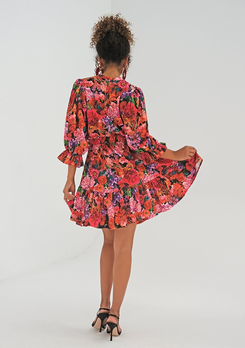 Mini dress Red Flowers