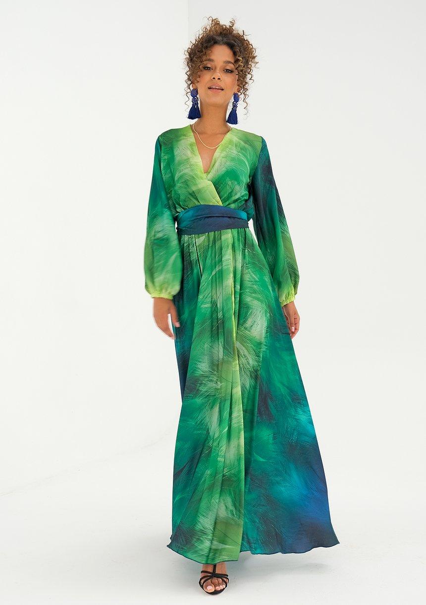 Kopertowa sukienka maxi Ombre Green