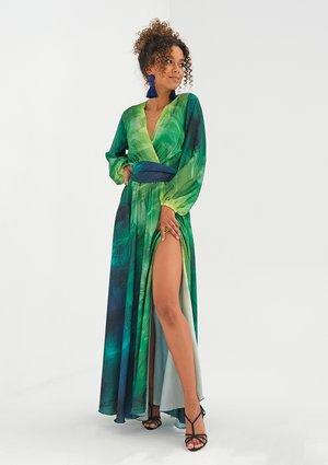 Maxi wrap dress Ombre Green
